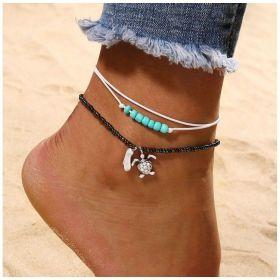 Dámský Set Boho náramků na nohu Želvička s korálky