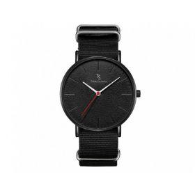 TOM SAINTZ hodinky s nylonovým páskem Černé