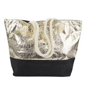 Designová Plážová taška Metalická zlatá