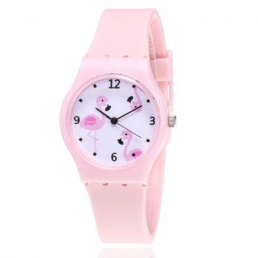 Dívčí silikonové hodinky Plameňáci - růžové