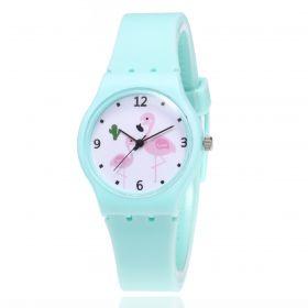 Dívčí silikonové hodinky Plameňáci - zelené
