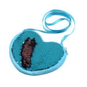 Flitrová dívčí kabelka ve tvaru srdíčka Modrá