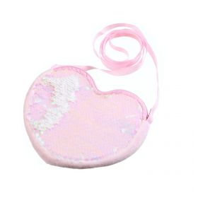 Flitrová dívčí kabelka ve tvaru srdíčka Růžová
