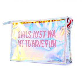 Transparentní holografická kosmetická taštička Girl just
