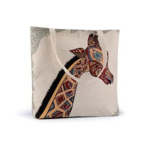 Lněná nákupní nebo plážová taška Žirafa