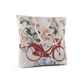 Lněná nákupní nebo plážová taška Retro kolo