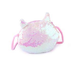 Flitrová kabelka kočka s oušky Bílá