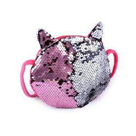 Flitrová kabelka kočka s oušky Růžová