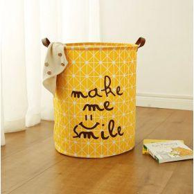 Lněný koš na prádlo Smile žlutý 60L
