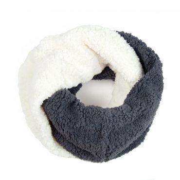 Dvoubarevný Kruhový šál Fleece šedý