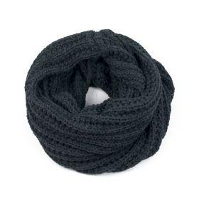 Tunelový pletený kruhový šál šedý