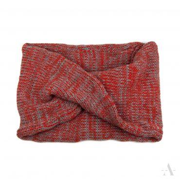 Tunelový pletený kruhový šál melanż béžový