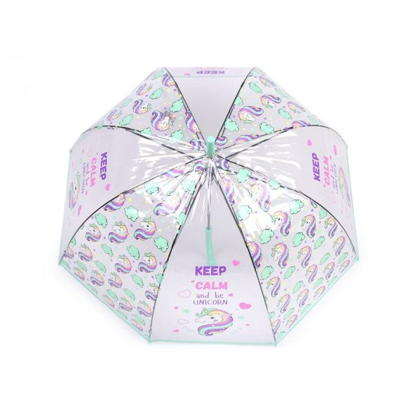 Dívčí průhledný vystřelovací deštník jednorožec Mint
