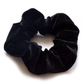 Sametová gumička do vlasů Černá