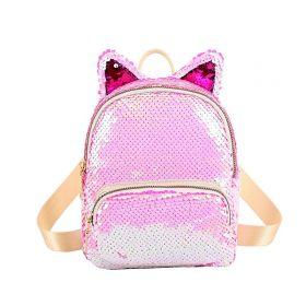 Dívčí flitrový batůžek Kočka růžová