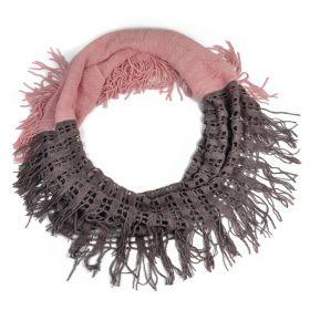 Kruhový pletený šál se štrasem Růžový