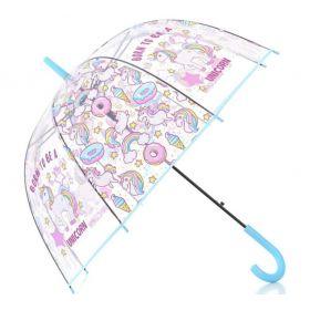 Dívčí průhledný vystřelovací deštník jednorožec Modrá