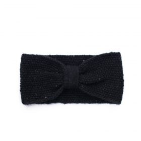 Dámská pletená zimní čelenka s flitry Černá