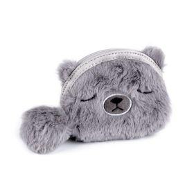 Dětská kožešinová peněženka Medvídek šedý