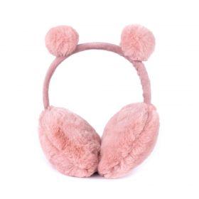 Plyšové klapky na uši Funny bear Růžové
