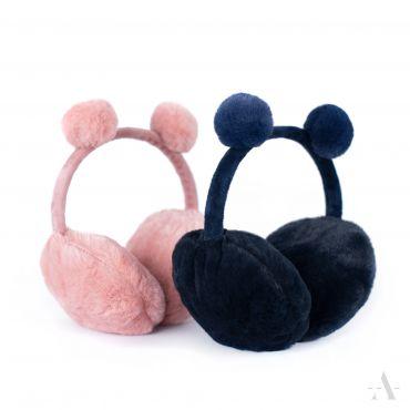 Plyšové klapky na uši Funny bear Černá