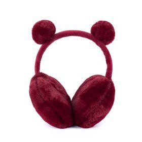Plyšové klapky na uši Funny bear Červené