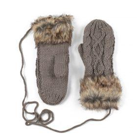 Dámské palčáky rukavice s kožíškem Béžové