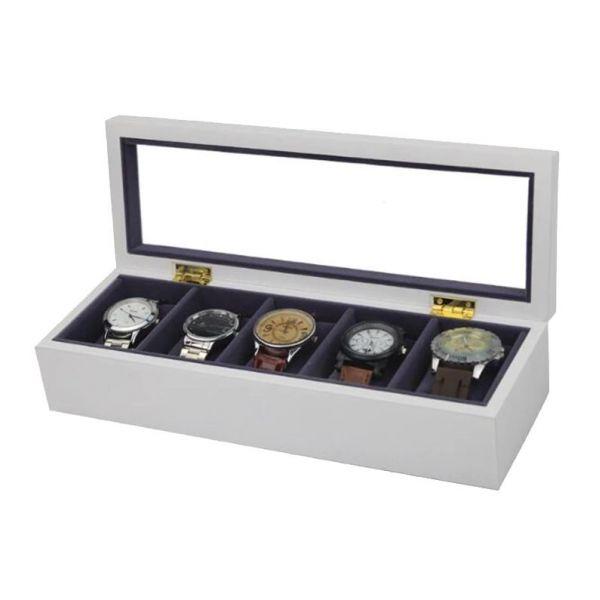 Organizér na hodinky 5 komor Wood craft Bílý