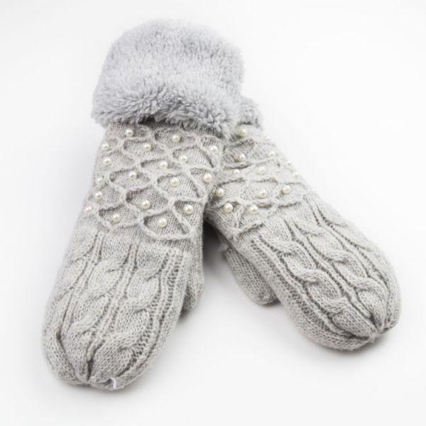 Dámské palčáky rukavice s perly Šedé