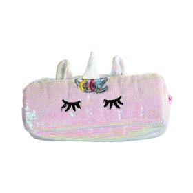 Flitrová kosmetická taštička Jednorožec Růžová