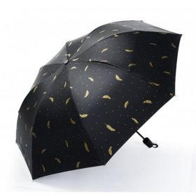 Dámský Černý skládací deštník Zlaté lístky