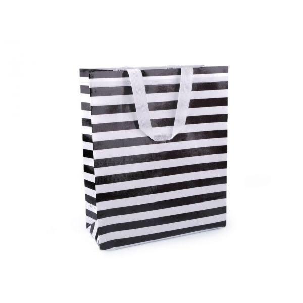 Nákupní taška s pruhy střední 28x39 cm Černá
