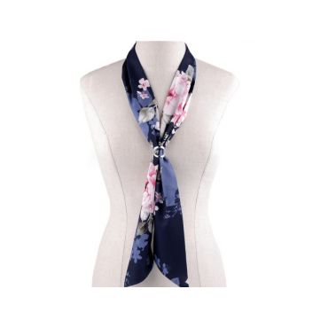 Šátek úzký do vlasů, na krk, na kabelku růže Modrá