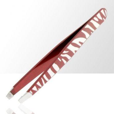 ASM kosmetická pinzeta zkosená zebra červená