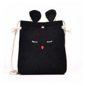 Textilní crossbody kabelka králík Černý