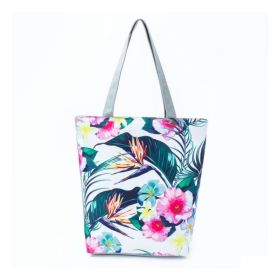 Plážová i nákupní taška Palmy s květy
