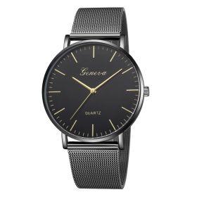 GENEVA Unisex kovové hodinky černé Flow