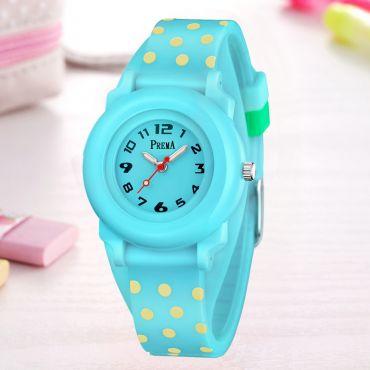Prema dívčí silikonové hodinky Polka Dots - tyrkysové
