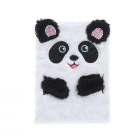 Plyšový zápisník deník A5 Panda Bílá