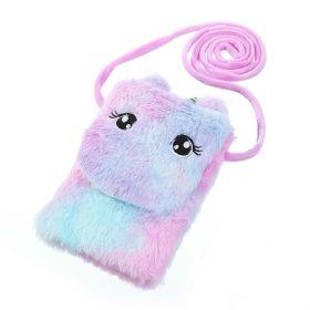 Dětská chlupatá kabelka na mobil Jednorožcem