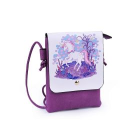 Dívčí malá kabelka s klopou Jednorožec fialový