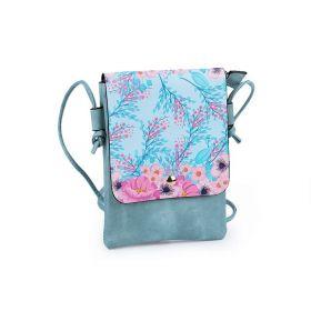 Dívčí malá kabelka s klopou Tyrkysové květy