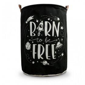 Lněný koš na hračky Černý Born Free