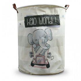 Lněný koš na hračky Bílý slon na cestách