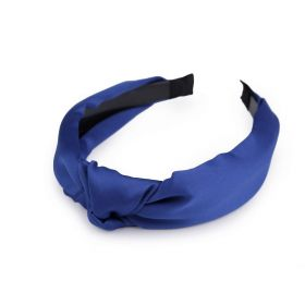Saténová čelenka do vlasů s uzlem Modrá