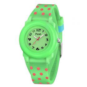 Prema dívčí silikonové hodinky Polka Dots Zelené