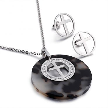 Sada šperků z oceli I Believe Černo stříbrný