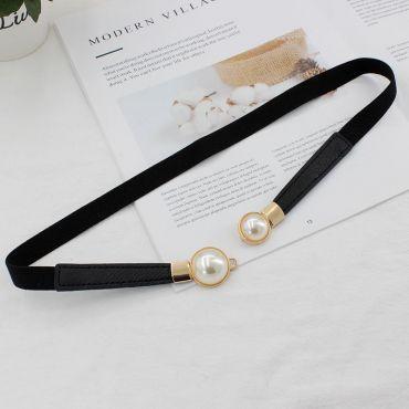 Dámský elastický pásek s perličky Bílý