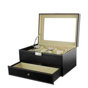 Box na hodinky 10 komor + brýle Černý