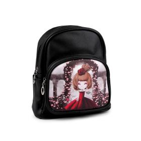 Dívčí batoh s obrázkem dívky Černý